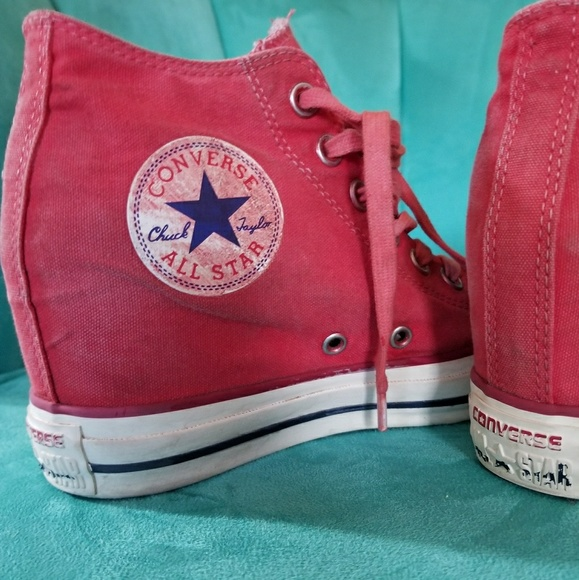 29522e018ab Converse Shoes - Distressed red converse wedges.